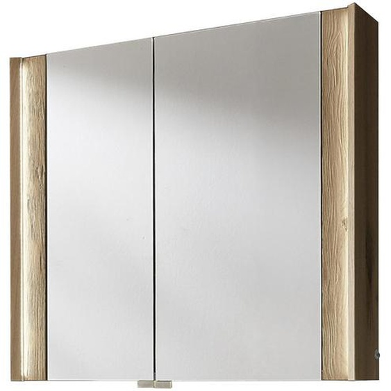Valdera Spiegelschrank Braun , Glas , Echtholz , massiv , 2 Fächer , 82x76.8x20.8 cm