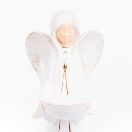 VALENTINO Wohnideen Teelichthalter Engel Nora 18,5x19x46 cm weiß Kerzenhalter Kerzen Laternen Wohnaccessoires
