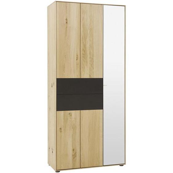Valnatura Garderobenschrank Kerneiche vollmassiv Braun , Holz , 7 Fächer , 88.5x196x39 cm