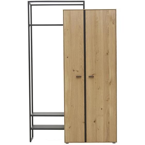 Valnatura Garderobenschrank Wildeiche massiv Braun , Holz, Metall , 4 Fächer , 128.9x210.3x37 cm