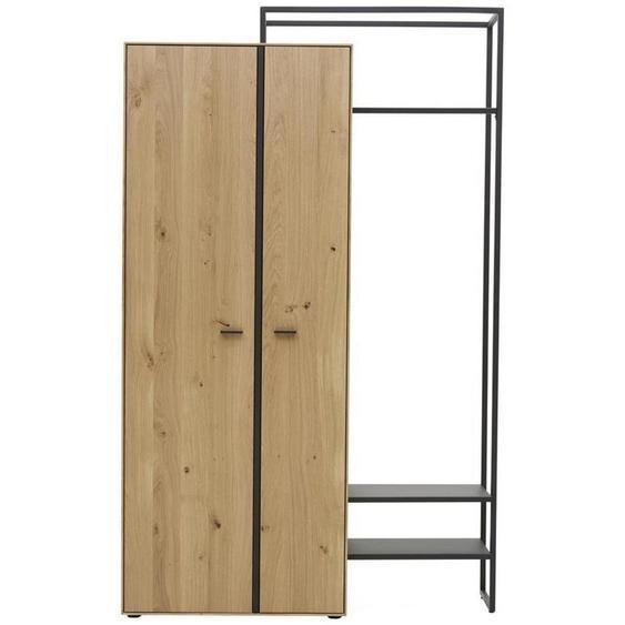 Valnatura Garderobenschrank Wildeiche massiv Braun , Metall, Holzwerkstoff , massiv,furniert , 4 Fächer , 128.9x210.3x37 cm