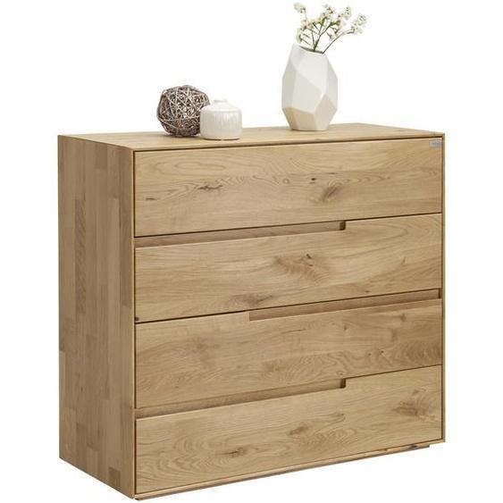 Valnatura Kommode Wildeiche massiv Braun , Holz , 4 Schubladen , 99.5x91x42 cm