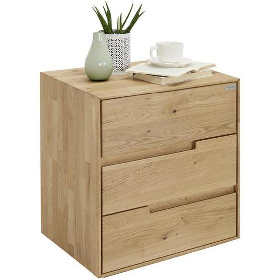 Valnatura Nachtkästchen Wildeiche massiv Braun , Holz , 3 Schubladen , 50x58x40 cm