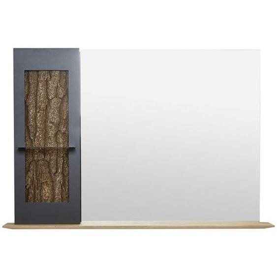 Valnatura Spiegel Kerneiche Braun , Holz, Metall, Glas , vollmassiv , 117.5x79x22 cm