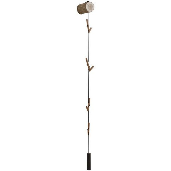 Valnatura Wandgarderobe Kerneiche vollmassiv Braun , Holz, Metall, Textil , 12x197x30 cm