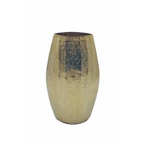 Vase , Gold , Metall , oval , 17x30x10 cm , zum Stellen , Dekoration, Vasen