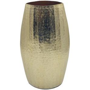 Vase , Gold , Metall , oval , 19x36x13 cm , zum Stellen , Dekoration, Vasen