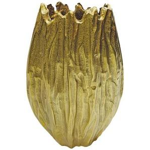 Vase , Gold , Metall , oval , 21x32x8.5 cm , zum Stellen , Dekoration, Vasen