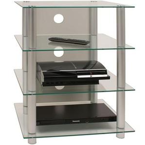 VCM 14110 Hifi Möbel Rack Phono Turm Medienrack Medienmöbel Regal Tisch Alu Glas Aluminium / Klarglas Blados
