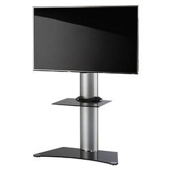 VCM my media TV-Ständer Findal mit Zwischenboden silber, schwarzglas