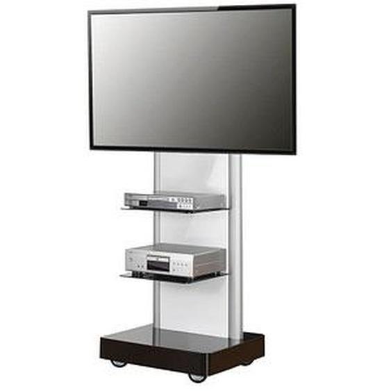 VCM my media TV-Ständer mit Rollen Pro-Stand schwarz, silber, schwarzglas