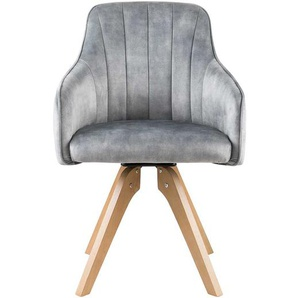 Velours Esszimmerstühle in Grau drehbar (2er Set)