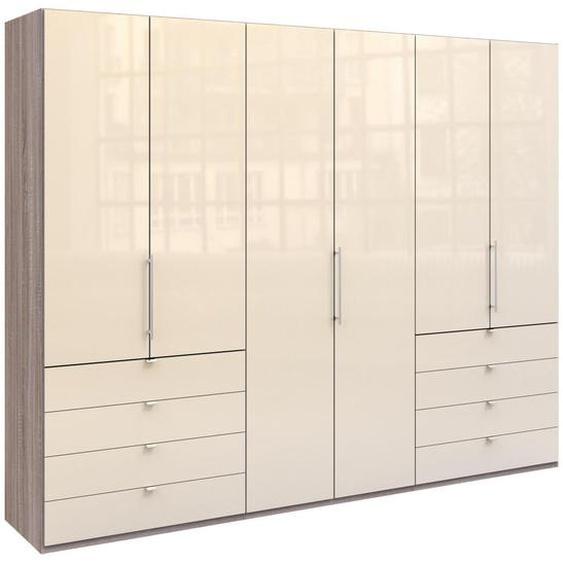 Venda Falttürenschrank 3 -türig Mehrfarbig, Weiß , Beige, Trüffeleiche, Weiß , Holzwerkstoff , 6 Fächer , 8 Schubladen , 300x236x58 cm