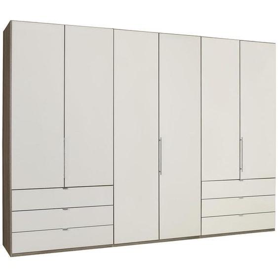 Venda Falttürenschrank 3 -türig Mehrfarbig, Weiß , Beige, Trüffeleiche, Weiß , Holzwerkstoff , 6 Fächer , 6 Schubladen , 300x216x58 cm