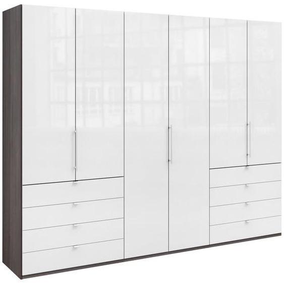 Venda Falttürenschrank 3 -türig Weiß, Braun , Holzwerkstoff , 6 Fächer , 8 Schubladen , 300x236x58 cm