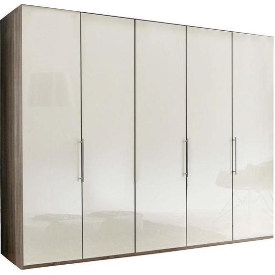 Venda Falttürenschrank 5 -türig Mehrfarbig, Weiß , Beige, Trüffeleiche, Weiß , Holzwerkstoff , 6 Fächer , 250x216x58 cm