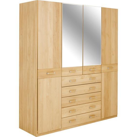 Venda Kleiderschrank 4-türig Erle teilmassiv Braun , Kunststoff , 6 Fächer , 5 Schubladen , 189x214x58 cm