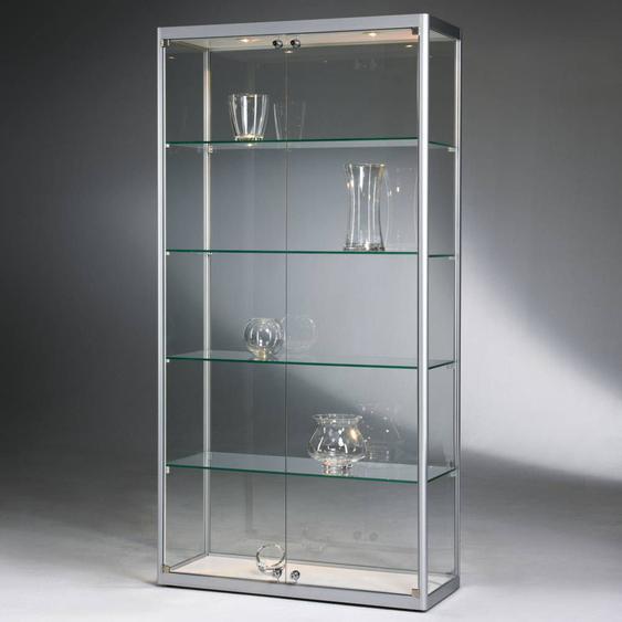 VERSUS 400 Standvitrine, b100xt40xh200cm,Silber