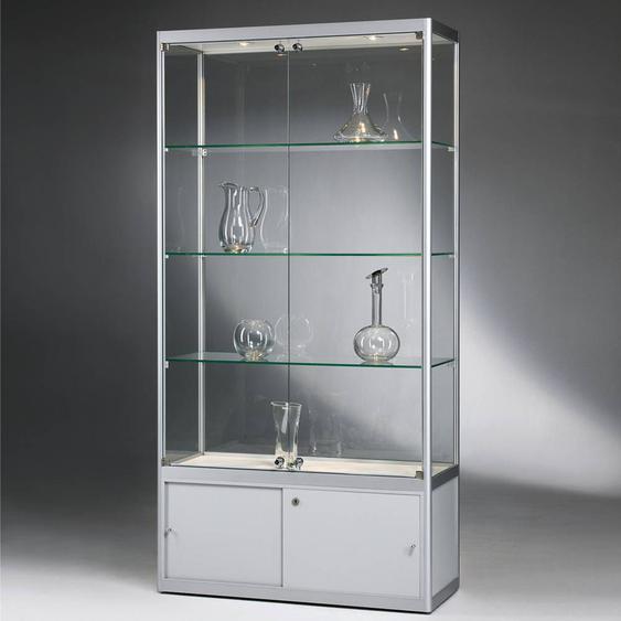 VERSUS 460 Standvitrine mit Unterschrank, b100xt40xh200cm, Silber