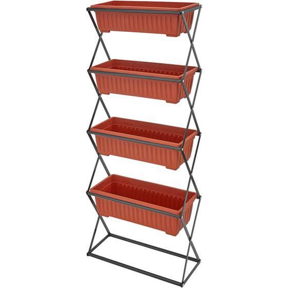 Vertikalbeet mit 4 Kästen - braun