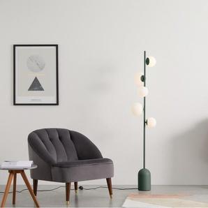 Vetro Stehlampe, Pfauengruen und Milchglas