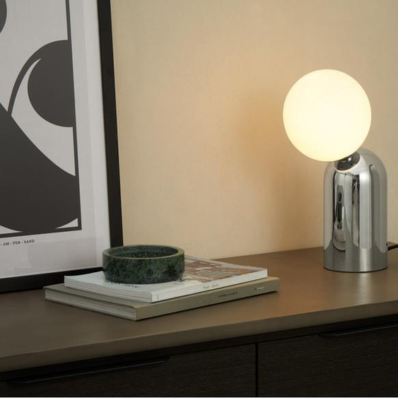 Vetro Tischlampe, Chrome und Milchglas