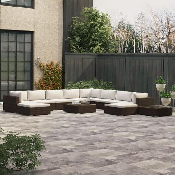 12-tlg. Garten-Lounge-Set mit Auflagen Poly Rattan Braun