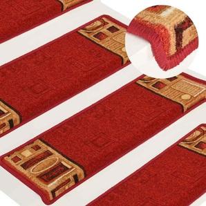 Vidaxl 15x Treppenmatte Selbstklebend 65x25cm Rot Stufenmatten