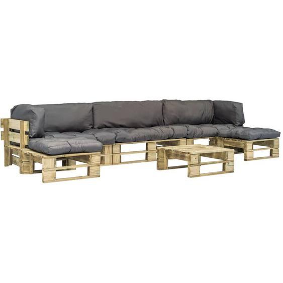 6-tlg. Garten-Lounge-Set Paletten Graue Auflagen Holz