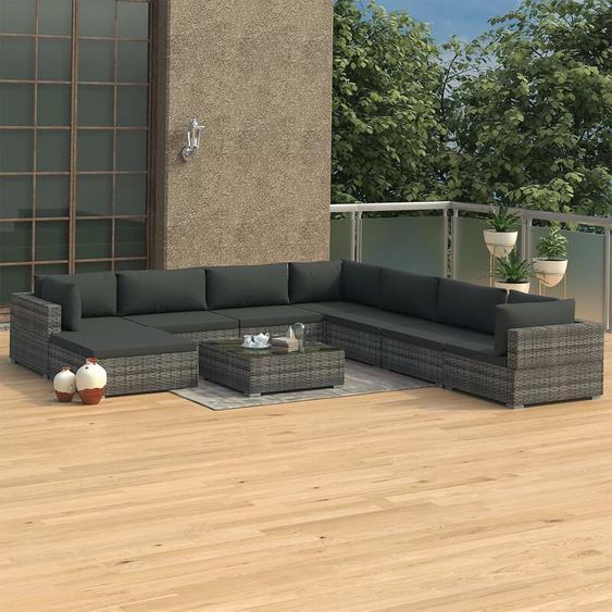 9-tlg. Garten-Lounge-Set mit Auflagen Poly Rattan Grau