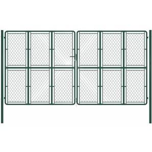 Gartentor Stahl 400 x 200 cm Grün - VIDAXL