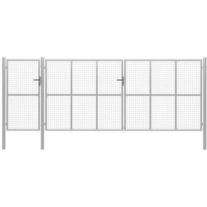 Gartentor Stahl 500 x 200 cm Silbern - VIDAXL