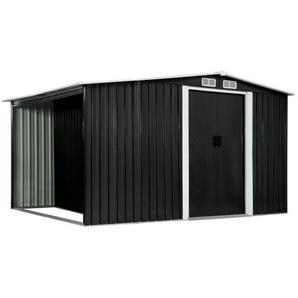 vidaXL Gerätehaus »vidaXL Gerätehaus mit Schiebetüren Anthrazit 329,5×131×178 cm Stahl«
