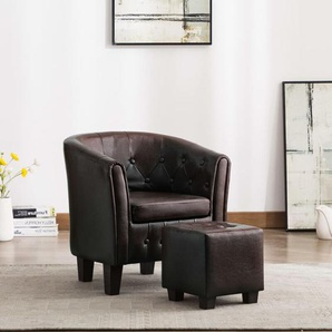 Sessel mit Fußhocker Kunstleder Braun