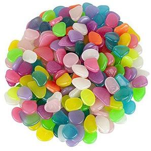 vientiane Leuchtsteine, 200 Stück Farbe künstliche Kieselstein Nachtleuchtende Steine für Garten Gehweg, Yard Gras und Aquarium Fisch Behälter Dekoration (Mischfarbe)