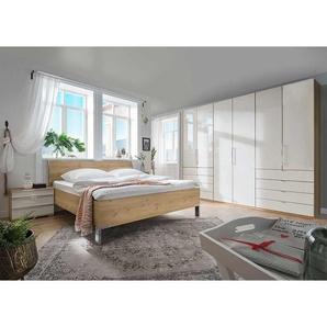 Schlafzimmer Set in Eiche Bianco und Beige mit Glas beschichtet (vierteilig)
