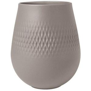 Villeroy & Boch Tischvase »Manufacture Collier taupe«, Manufacture Collier kleine Vase, Carré, Taupe