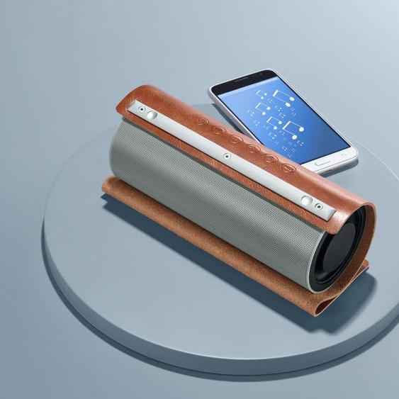 Vintage-Bluetooth®-Lautsprecher mit Kunstlederhülle - Braun -