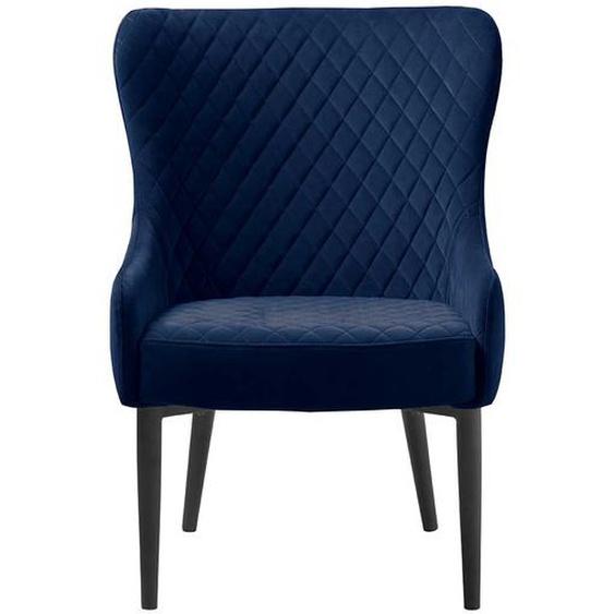 Vintage Esstisch Sessel in Blau Samt Armlehnen