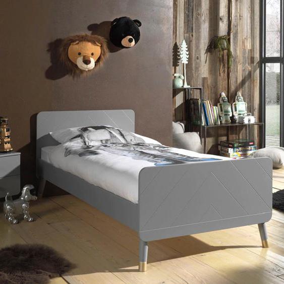 Vipack Einzelbett Billy 90x200 cm Höhe Bettseite: 34,5 cm, ohne Matratze grau Kinder Jugendbetten Jugendmöbel Kindermöbel Betten