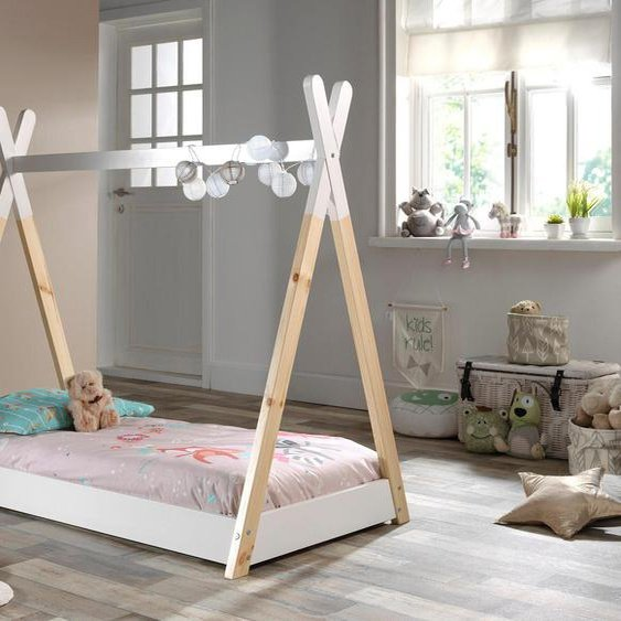 Vipack Kinderbett Tipi, mit Lattenrost 70x140 cm Höhe Bettseite: 12 cm, ohne Matratze weiß Einzelbetten Betten