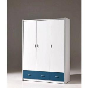 Vipack Kleiderschrank BONNY-12, 3-trg, 147cm, Weiß-Blau
