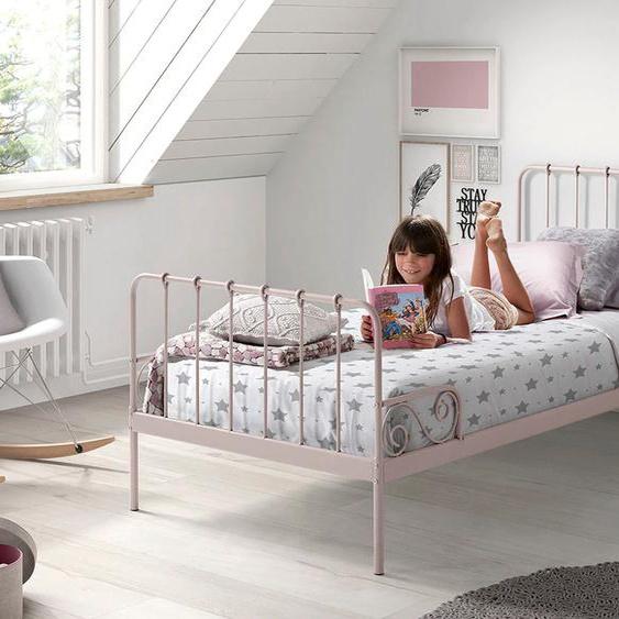 Vipack Metallbett Alice, mit Lattenrost 90x200 cm Höhe Bettseite: 28 cm, ohne Matratze rosa Kinder Kinderbetten Kindermöbel Betten