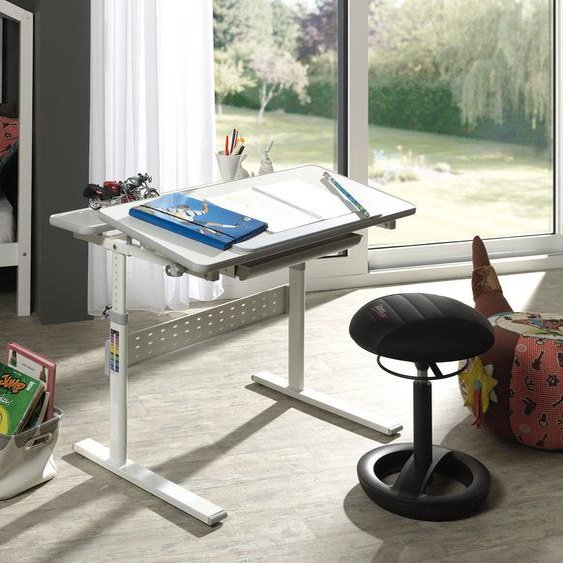 Vipack Schreibtisch Comfortline, ergonomisch höhenverstellbar Tischplatte: ABS-Kunststoff, Gestell: Metall, 95x66 cm weiß Kinder Jugendschreibtische Jugendmöbel Kindermöbel Tisch