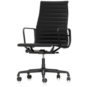 Vitra Bürodrehsessel Alu-Chair hohe Rückenlehne schwarz, Designer Charles & Ray Eames, 101-113x58.5x58-72 cm