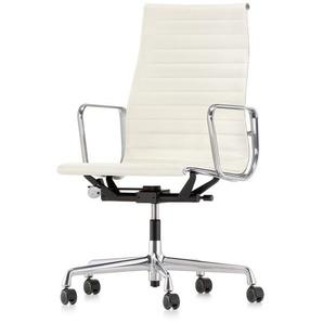 Vitra Bürodrehsessel Alu-Chair hohe Rückenlehne weiß, Designer Charles & Ray Eames, 101-113x58.5x58-72 cm
