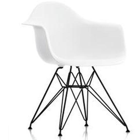 Vitra - Eames Plastic Armchair DAR, basic dark / weiß (Kunststoffgleiter basic dark)