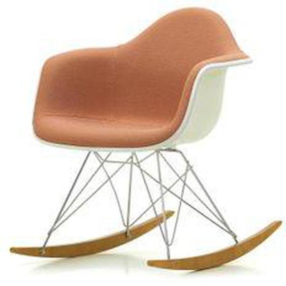 Vitra - Eames Plastic Armchair RAR, Ahorn gelblich / Chrom / Vollpolster Credo zartrosa / cognac / Sitzschale weiß / Keder weiß