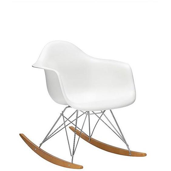 Vitra Eames Plastic Armchair RAR Schaukelstuhl weiß, Designer Charles & Ray Eames, 76x63x81 cm
