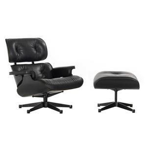 Vitra Lounge Chair und Ottoman schwarz, Designer Charles & Ray Eames, 89x84x85-92 cm